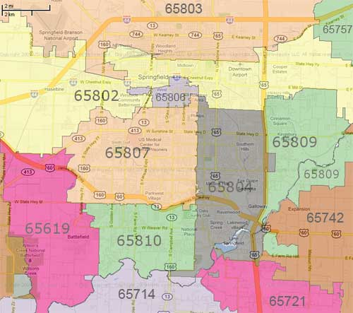 Springfield Zip Code Map  My blog